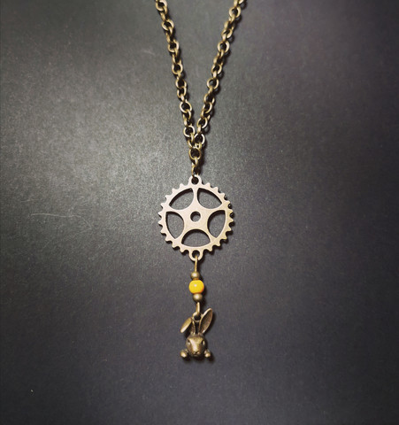 Rabbit and gear necklace
