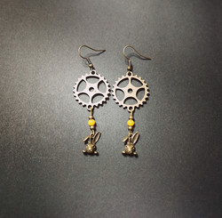 Rabbit earrings with yellow gear