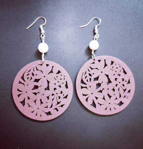 Brown wood flower earrings