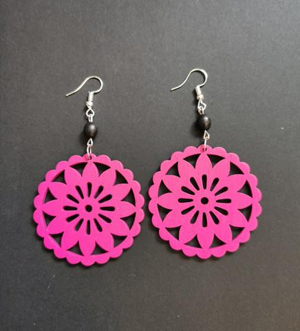 Pink wood flower earrings