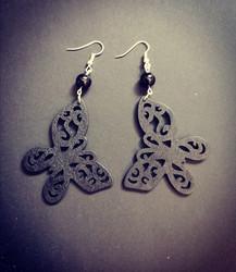 Black wood butterfly earrings