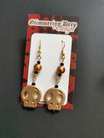 Gold golored skull earrings
