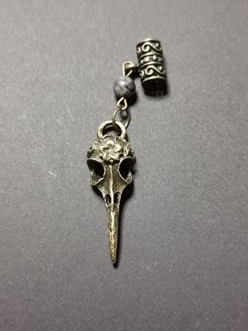 Locks jewelry bird skull with stone beads