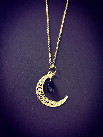Gold colour moon necklace with black drop