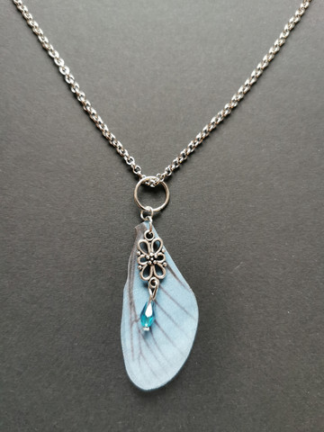 Light blue fairy wing necklace