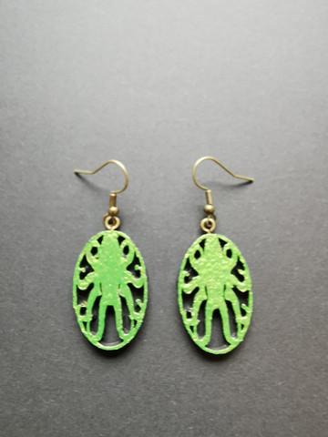 Poison green octopus earrings