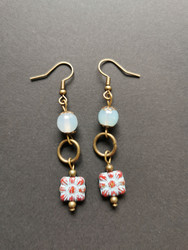 Light blue flower earrings with aquamarine beads