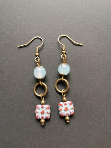 Light blue flower earrings with aquamarine beads