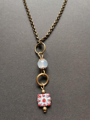 Light blue flower necklace with aquamarine stone bead