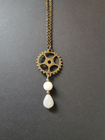 Steampunk gear necklace with stone bead droplet