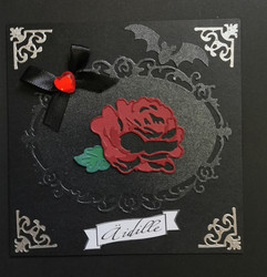 Handmade dark rose mother's day card