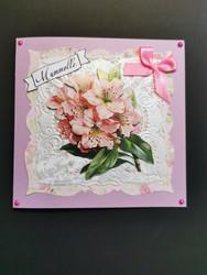 Handmade pink flower grandmother card