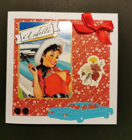Handmade Pinup girl and car mother's day card