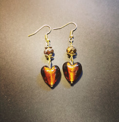 Brown heart earrings