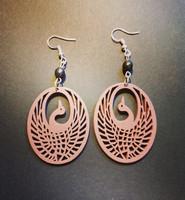 Brown wood bird earrings