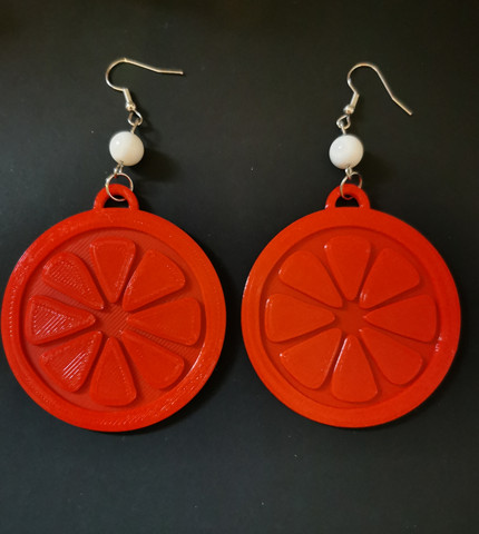 Large red grapefruit earrings