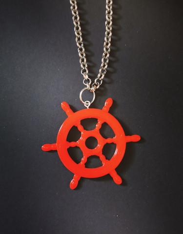 Big red wheel necklace