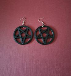 Big black pentagram earrings