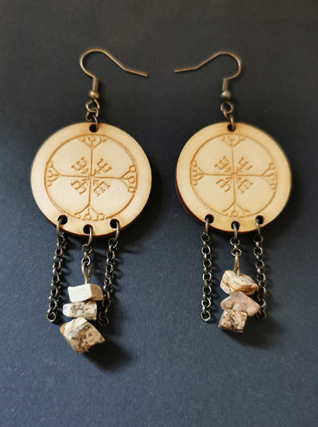 Rune earrings with stone beads