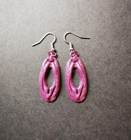 Purple vagina earrings