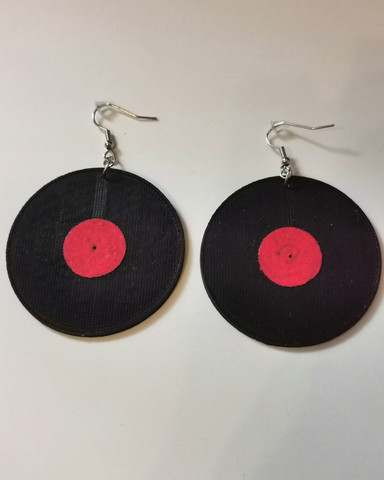 LP record earrings