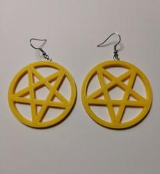 Big yellow pentagram earrings