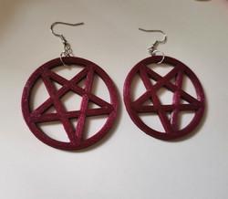 Big violet galaxy pentagram earrings