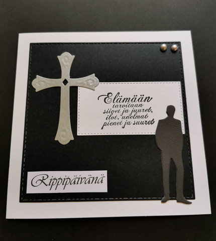 Handmade confirmation card grey and black