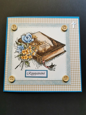 Confirmation card with bible on a blue background