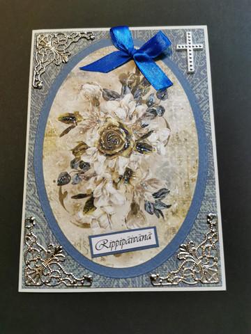 Rippipäivänä kortti risti ja kukat sininen