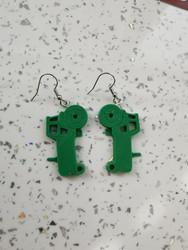 Green tractor bulling earrings