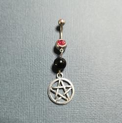 Belly piercing silver pentagram