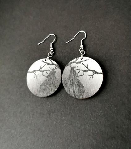 Black wolf earrings