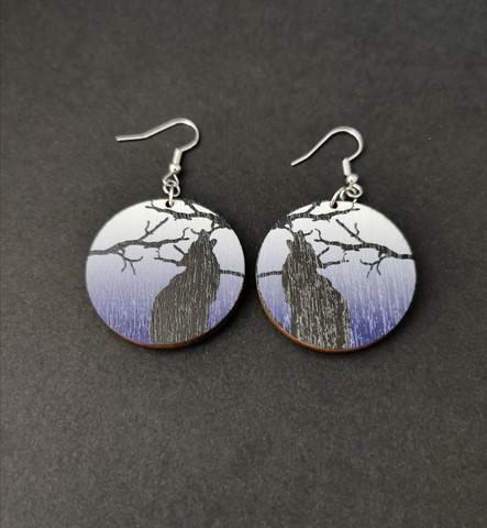 Blue wolf earrings
