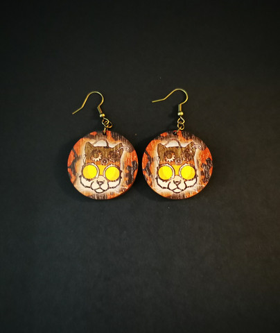 Steampunk cat earrings