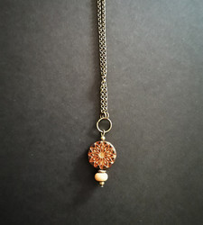 Brown and orange flower necklace