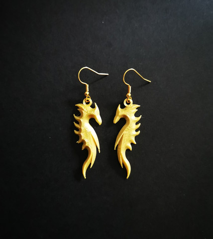 Gold coloring dragon earrings