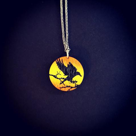 Orange raven necklace