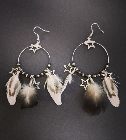 Feather earrings with stars and ring