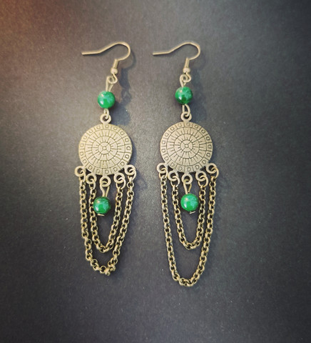 Viking earrings with green shell beads