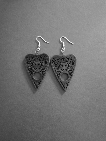 Black planchette earrings