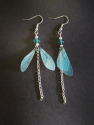Light blue dragonfly wing earrings