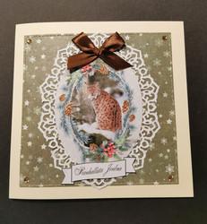 Christmas card with a lynx