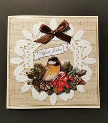 Joulukortti lintu