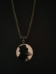 Round Gray Plague Doctor Necklace