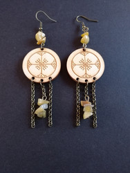 Rune earrings with yellow stones