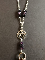 Pentagram key chain with black and violet