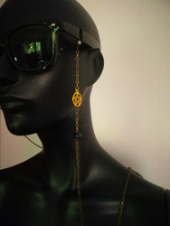 Steampunk chain for glasses with black bead