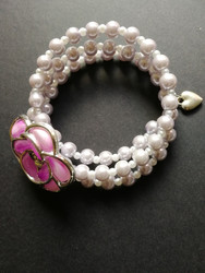 Lilac memory Wire Bracelet with violet rose