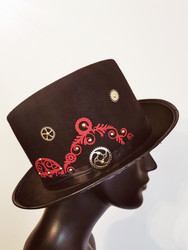 Steampunk hat with clock and gears